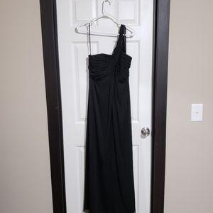 Alex Evenings black one shoulder empire long gown